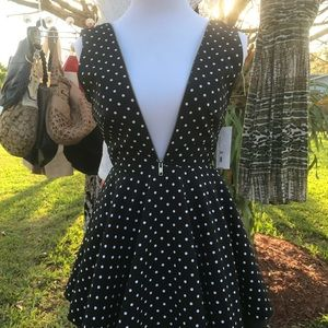 Pinup rockabilly polka dot mini zipper dress